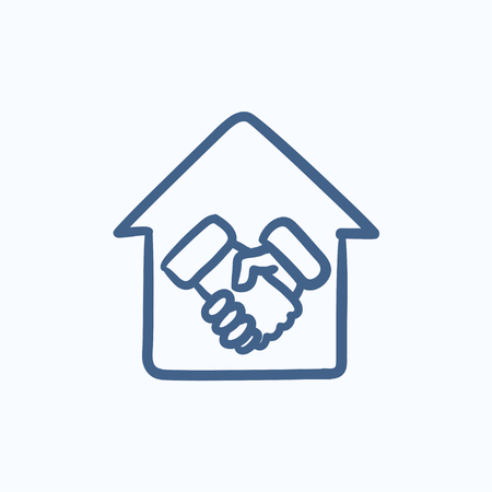 pact: Handshake and house vector sketch icon isolated on background. Hand drawn Handshake and house icon. Handshake and house sketch icon for infographic, website or app.