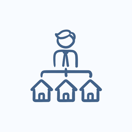 renter: Real estate agent with three houses vector sketch icon isolated on background. Hand drawn Real estate agent with houses icon. Real estate agent with houses sketch icon for infographic, website or app.