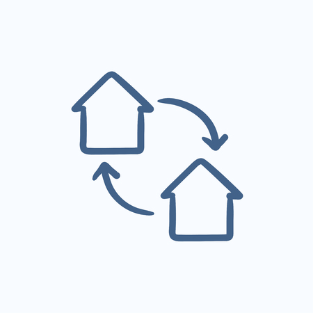 barter: House exchange vector sketch icon isolated on background. Hand drawn House exchange icon. House exchange sketch icon for infographic, website or app.