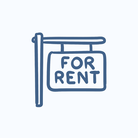 rent: For rent placard vector sketch icon isolated on background. Hand drawn For rent placard icon. For rent placard sketch icon for infographic, website or app. Illustration