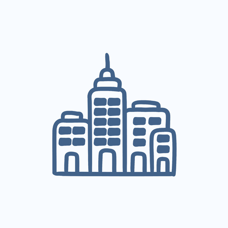 multi storey: Residential buildings vector sketch icon isolated on background. Hand drawn Residential buildings icon. Residential buildings sketch icon for infographic, website or app. Illustration