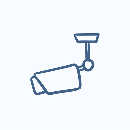 guard house: Outdoor surveillance camera vector sketch icon isolated on background. Hand drawn Outdoor surveillance camera icon. Outdoor surveillance camera sketch icon for infographic, website or app.