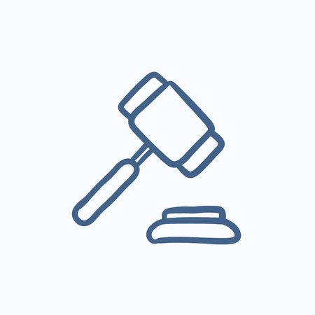 auction gavel: Auction gavel vector sketch icon isolated on background. Hand drawn Auction gavel icon. Auction gavel sketch icon for infographic, website or app.