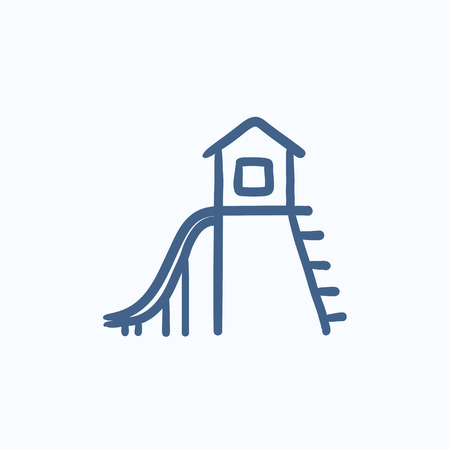 playhouse: Playhouse with slide vector sketch icon isolated on background. Hand drawn Playhouse with slide icon. Playhouse with slide sketch icon for infographic, website or app.