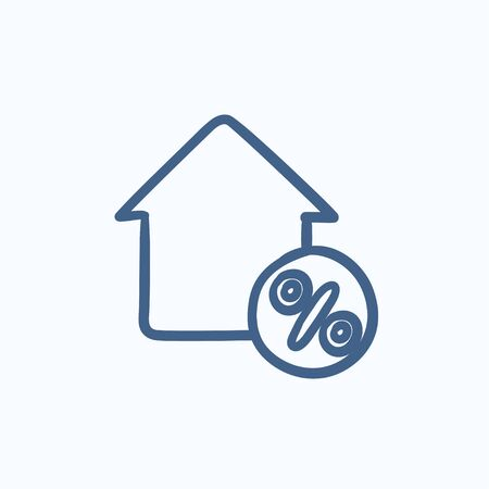 House with discount tag vector sketch icon isolated on background. Hand drawn House with discount tag icon. House with discount tag sketch icon for infographic, website or app. Vetores