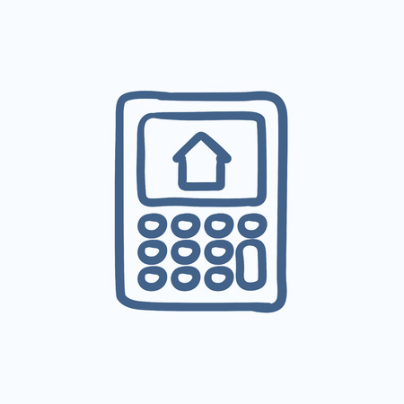 Calculator with house on display vector sketch icon isolated on background. Hand drawn Calculator with house on display icon. Calculator with house sketch icon for infographic, website or app. Illustration