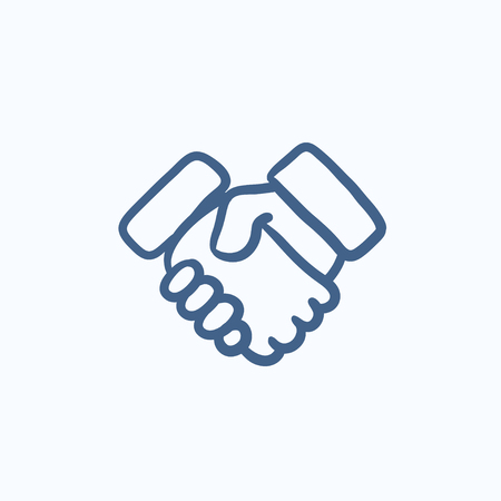 Handshake and successful real estate transaction vector sketch icon isolated on background. Hand drawn Handshake icon. Handshake sketch icon for infographic, website or app. Ilustrace