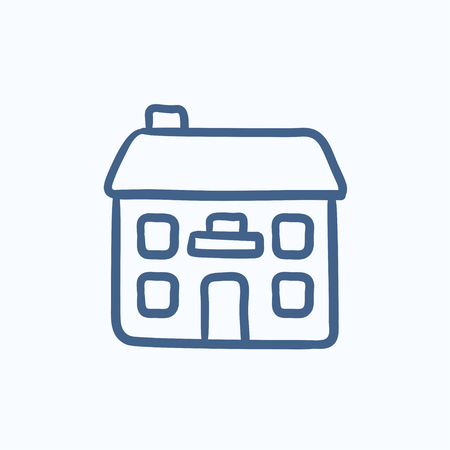 detached: Two storey detached house vector sketch icon isolated on background. Hand drawn Two storey detached house icon. Two storey detached house sketch icon for infographic, website or app. Illustration