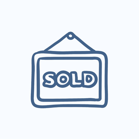 sold isolated: Sold placard vector sketch icon isolated on background. Hand drawn Sold placard icon. Sold placard sketch icon for infographic, website or app.