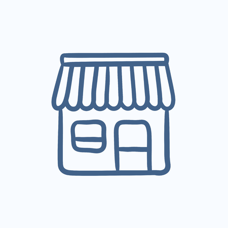 awnings windows: Shop vector sketch icon isolated on background. Hand drawn Shop icon. Shop sketch icon for infographic, website or app.