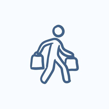 man carrying: Man carrying shopping bags vector sketch icon isolated on background. Hand drawn Man carrying shopping bags icon. Man carrying shopping bags sketch icon for infographic, website or app.