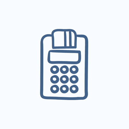 Cash register vector sketch icon isolated on background. Hand drawn Cash register icon. Cash register sketch icon for infographic, website or app. Illustration