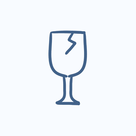 rickety: Cracked glass vector sketch icon isolated on background. Hand drawn Cracked glass icon. Cracked glass sketch icon for infographic, website or app.