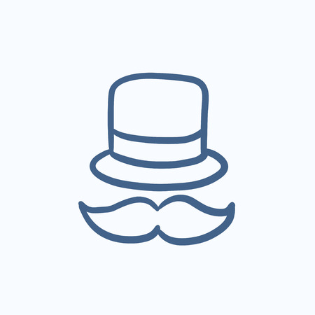 bowler hat: Hat and mustache vector sketch icon isolated on background. Hand drawn Hat and mustache icon. Hat and mustache sketch icon for infographic, website or app. Illustration