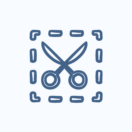 dotted lines: Scissors with dotted lines vector sketch icon isolated on background. Hand drawn Scissors with dotted lines icon. Scissors with dotted lines sketch icon for infographic, website or app.
