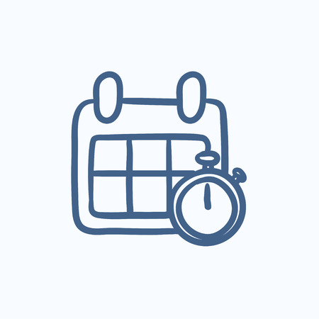 Calendar and stopwatch vector sketch icon isolated on background. Hand drawn Calendar and stopwatch icon. Calendar and stopwatch sketch icon for infographic, website or app. 向量圖像