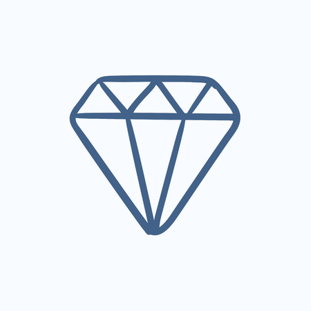 adamant: Diamond vector sketch icon isolated on background. Hand drawn Diamond icon. Diamond sketch icon for infographic, website or app.