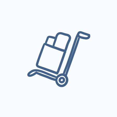 Compras manejo de dibujo icono de carro del vector aislado en el fondo. Dibujado a mano el manejo de icono del carrito de compras. Compras manejo de dibujo icono de carro de infografía, sitio web o aplicación. Foto de archivo - 58159785