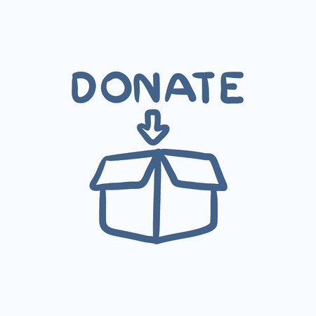 fundraiser: Donation box vector sketch icon isolated on background. Hand drawn Donation box icon. Donation box sketch icon for infographic, website or app.