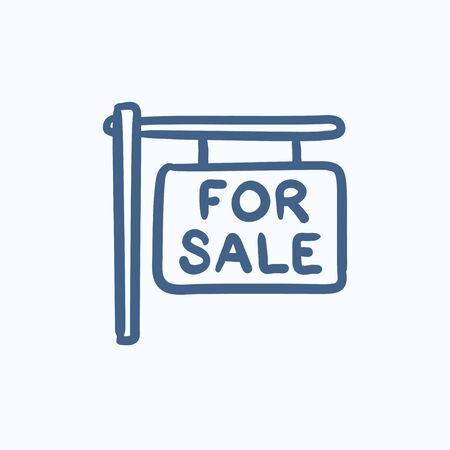 selloff: For sale signboard vector sketch icon isolated on background. Hand drawn For sale signboard icon. For sale signboard sketch icon for infographic, website or app.