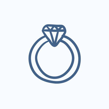 adamant: Diamond ring vector sketch icon isolated on background. Hand drawn Diamond ring icon. Diamond ring sketch icon for infographic, website or app.