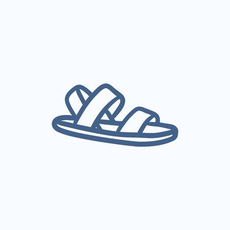 sandal: Sandalia dibujo icono del vector aislado en el fondo. Dibujado a mano icono de la sandalia. dibujo icono de la sandalia de infograf�a, sitio web o aplicaci�n.