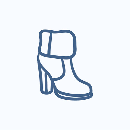ankle: High-heeled ankle boot with fur vector sketch icon isolated on background. Hand drawn High-heeled ankle boot with fur icon. High-heeled ankle boot with fur sketch icon for infographic, website or app.