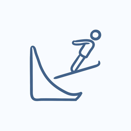 springboard: Ski jumping vector sketch icon isolated on background. Hand drawn Ski jumping icon. Ski jumping sketch icon for infographic, website or app.