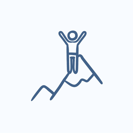 minimal: Climbing vector sketch icon isolated on background. Hand drawn Climbing icon. Climbing sketch icon for infographic, website or app.