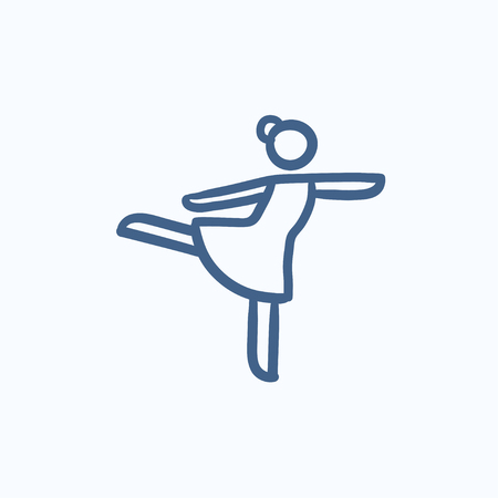figure skater: Female figure skater vector sketch icon isolated on background. Hand drawn Female figure skater icon. Female figure skater sketch icon for infographic, website or app.