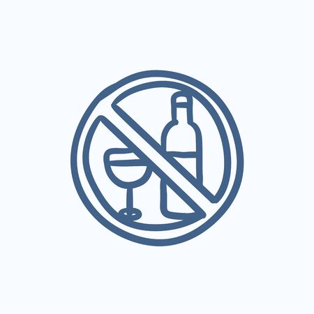 strikethrough: No alcohol sign vector sketch icon isolated on background. Hand drawn No alcohol sign icon. No alcohol sign sketch icon for infographic, website or app.