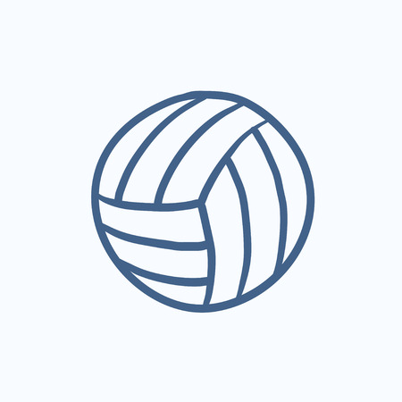 inflated: Volleyball ball vector sketch icon isolated on background. Hand drawn Volleyball ball icon. Volleyball ball sketch icon for infographic, website or app.