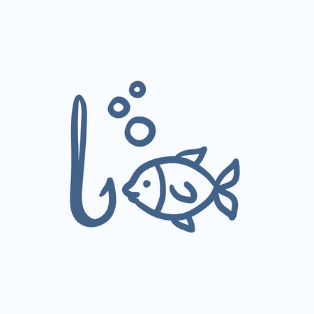Fish with hook vector sketch icon isolated on background. Hand drawn Fish with hook icon. Fish with hook sketch icon for infographic, website or app. 向量圖像