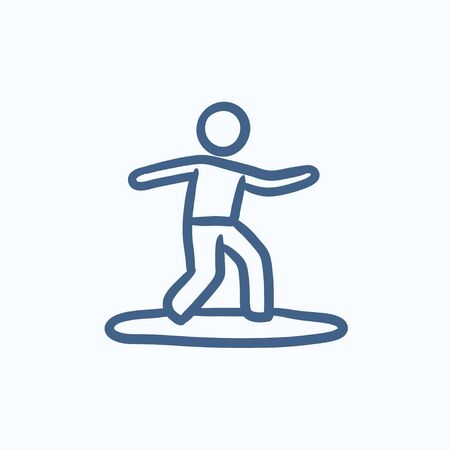 surfer: Male surfer riding on surfboard vector sketch icon isolated on background. Hand drawn Male surfer riding on surfboard icon. Male surfer riding on surfboard sketch icon for infographic, website or app.