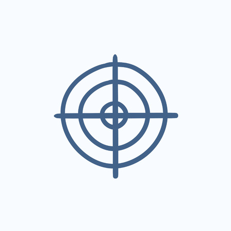 shooting target: Shooting target vector sketch icon isolated on background. Hand drawn Shooting target icon. Shooting target sketch icon for infographic, website or app. Illustration