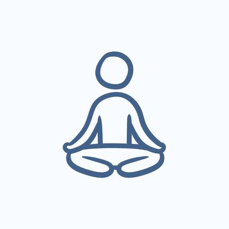 elasticidad: Hombre meditando en posición de loto dibujo icono del vector aislado en el fondo. dibujado a mano el hombre meditando en posición de loto icono. Hombre meditando en posición de loto dibujo icono de infografía, sitio web o aplicación. Vectores