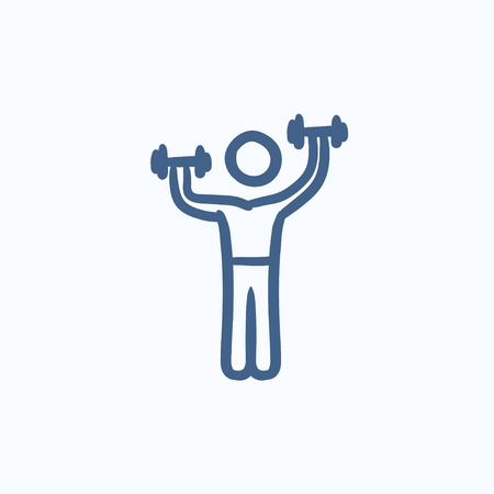 hand with dumbbells: Man exercising with dumbbells vector sketch icon isolated on background. Hand drawn Man exercising with dumbbells icon. Man exercising with dumbbells sketch icon for infographic, website or app.