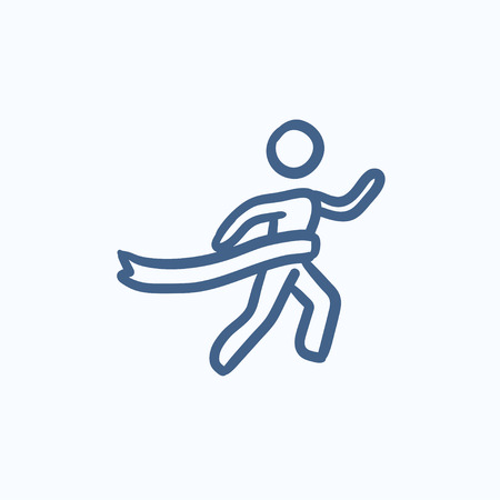 race winner: Winner crossing finish vector sketch icon isolated on background. Hand drawn Winner crossing finish icon. Winner crossing finish sketch icon for infographic, website or app. Illustration