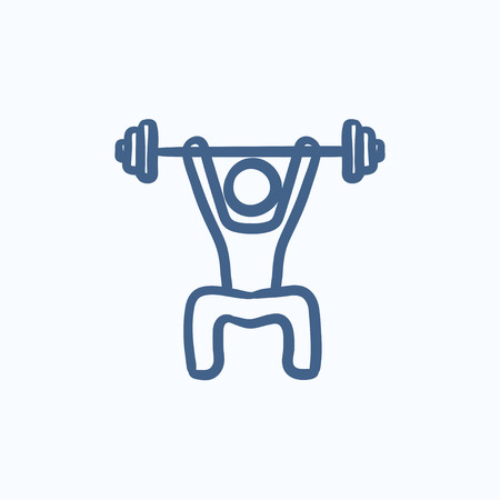 Man exercising with barbell vector sketch icon isolated on background. Hand drawn Man exercising with barbell icon. Man exercising with barbell sketch icon for infographic, website or app. Ilustrace