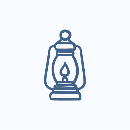 Camping lantern vector sketch icon isolated on background. Hand drawn Camping lantern icon. Camping lantern sketch icon for infographic, website or app.