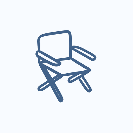 folding: Folding chair vector sketch icon isolated on background. Hand drawn Folding chair icon. Folding chair sketch icon for infographic, website or app. Illustration