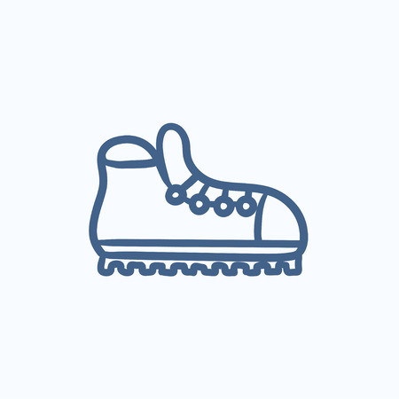 crampons: Hiking boot with crampons vector sketch icon isolated on background. Hand drawn Hiking boot with crampons icon. Hiking boot with crampons sketch icon for infographic, website or app. Illustration