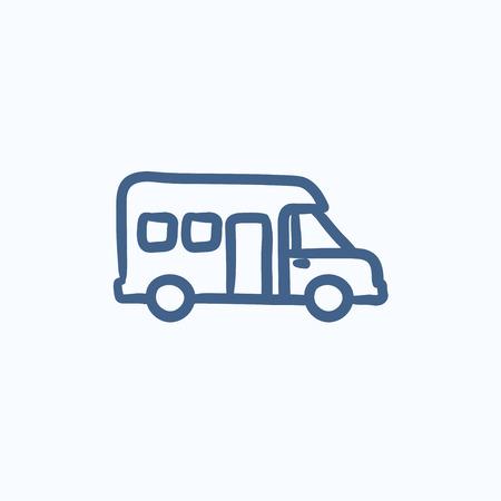 Autocaravana vector de dibujo icono aislado en el fondo. Dibujado a mano icono de la autocaravana. dibujo icono de autocaravana en infografía, sitio web o aplicación. Foto de archivo - 58181659