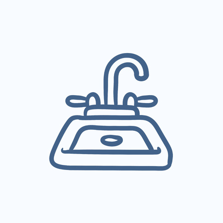 basin: Sink vector sketch icon isolated on background. Hand drawn Sink icon. Sink sketch icon for infographic, website or app. Illustration