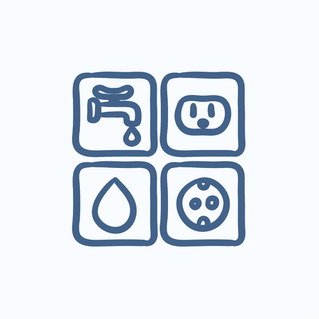 utilities: Utilities signs electricity and water vector sketch icon isolated on background. Hand drawn Electricity and water signs icon. Electricity and water signs sketch icon for infographic, website or app. Illustration