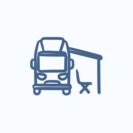 motorhome: Motorhome with tent vector sketch icon isolated on background. Hand drawn Motorhome with tent icon. Motorhome with tent sketch icon for infographic, website or app.