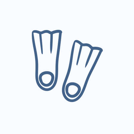 flippers: Flippers vector sketch icon isolated on background. Hand drawn Flippers icon. Flippers sketch icon for infographic, website or app. Illustration