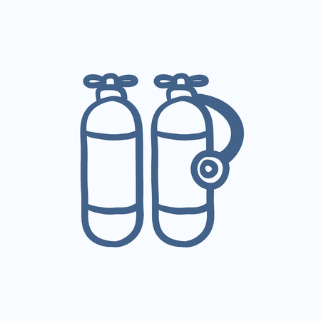 compressed gas: Oxygen tank vector sketch icon isolated on background. Hand drawn Oxygen tank icon. Oxygen tank sketch icon for infographic, website or app.
