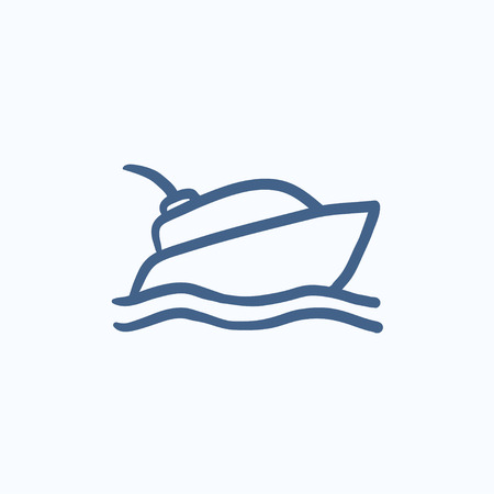 hull: Yacht vector sketch icon isolated on background. Hand drawn Yacht icon. Yacht sketch icon for infographic, website or app. Illustration