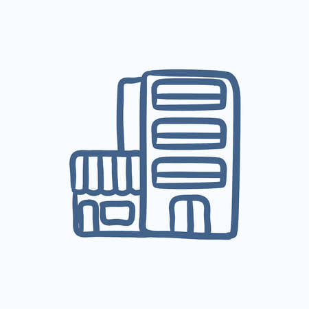 Hotel building vector sketch icon isolated on background. Hand drawn Hotel building icon. Hotel building sketch icon for infographic, website or app. 向量圖像